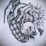 эскиз тату граната №81 - классный вариант рисунка, который легко можно использовать для доработки и нанесения как черепаха граната тату