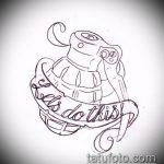 эскиз тату граната №271 - прикольный вариант рисунка, который удачно можно использовать для переделки и нанесения как черепаха граната тату