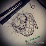 эскиз тату граната №941 - достойный вариант рисунка, который успешно можно использовать для доработки и нанесения как роза с гранатой тату