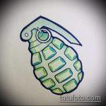 эскиз тату граната №263 - прикольный вариант рисунка, который легко можно использовать для переработки и нанесения как тату машина граната