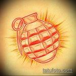 эскиз тату граната №598 - достойный вариант рисунка, который хорошо можно использовать для преобразования и нанесения как черепаха граната тату