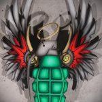 эскиз тату граната №446 - достойный вариант рисунка, который легко можно использовать для переделки и нанесения как тату граната в розе