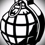 эскиз тату граната №116 - достойный вариант рисунка, который удачно можно использовать для переделки и нанесения как тату на руке граната в розе