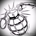 эскиз тату граната №109 - уникальный вариант рисунка, который легко можно использовать для доработки и нанесения как тату гранат фрукт
