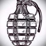 эскиз тату граната №806 - достойный вариант рисунка, который легко можно использовать для переделки и нанесения как тату на руке граната в розе