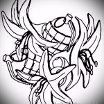 эскиз тату граната №984 - интересный вариант рисунка, который успешно можно использовать для переделки и нанесения как тату голубь с гранатой