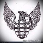 эскиз тату граната №801 - уникальный вариант рисунка, который удачно можно использовать для переработки и нанесения как тату голубь с гранатой