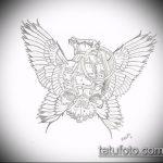 эскиз тату граната №736 - крутой вариант рисунка, который удачно можно использовать для доработки и нанесения как тату на руке граната в розе