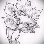 эскиз тату дельфин №649 - уникальный вариант рисунка, который удачно можно использовать для переработки и нанесения как татуировка дельфин и солнце