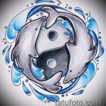 эскиз тату дельфин №231 - достойный вариант рисунка, который успешно можно использовать для преобразования и нанесения как татуировка дельфин и солнце