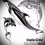 эскиз тату дельфин №163 - интересный вариант рисунка, который хорошо можно использовать для преобразования и нанесения как татуировка дельфин и солнце