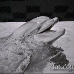 эскиз тату дельфин №528 - крутой вариант рисунка, который хорошо можно использовать для переработки и нанесения как татуировка дельфин кельтский