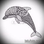 эскиз тату дельфин №655 - прикольный вариант рисунка, который легко можно использовать для переделки и нанесения как татуировка дельфин рука