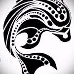 эскиз тату дельфин №372 - эксклюзивный вариант рисунка, который удачно можно использовать для переработки и нанесения как татуировка дельфин кельтский