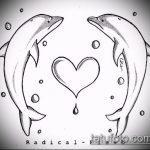 эскиз тату дельфин №412 - прикольный вариант рисунка, который удачно можно использовать для преобразования и нанесения как татуировка дельфин на ноге