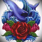 эскиз тату дельфин №901 - интересный вариант рисунка, который легко можно использовать для переработки и нанесения как татуировка дельфин на ноге