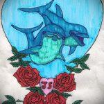 эскиз тату дельфин №198 - крутой вариант рисунка, который удачно можно использовать для переделки и нанесения как татуировка дельфин на запястье