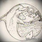 эскиз тату дельфин №641 - классный вариант рисунка, который удачно можно использовать для доработки и нанесения как татуировка дельфин на шее