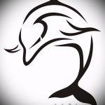 эскиз тату дельфин №462 - прикольный вариант рисунка, который удачно можно использовать для преобразования и нанесения как татуировка дельфин рука