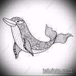 эскиз тату дельфин №763 - интересный вариант рисунка, который легко можно использовать для переделки и нанесения как татуировка дельфин на запястье