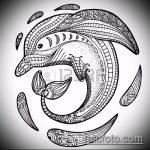 эскиз тату дельфин №616 - уникальный вариант рисунка, который удачно можно использовать для переработки и нанесения как татуировка дельфин значение на руке