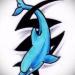 эскиз тату дельфин №812 - эксклюзивный вариант рисунка, который успешно можно использовать для переработки и нанесения как татуировка дельфин и солнце