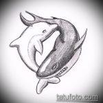 эскиз тату дельфин №10 - классный вариант рисунка, который легко можно использовать для преобразования и нанесения как татуировка дельфин и солнце