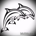 эскиз тату дельфин №134 - крутой вариант рисунка, который успешно можно использовать для преобразования и нанесения как татуировка дельфин на шее