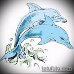 эскиз тату дельфин №844 - прикольный вариант рисунка, который легко можно использовать для преобразования и нанесения как татуировка дельфин на ноге
