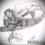 эскиз тату дельфин №812 - интересный вариант рисунка, который легко можно использовать для преобразования и нанесения как татуировка дельфин полинезия