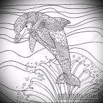 эскиз тату дельфин №838 - крутой вариант рисунка, который успешно можно использовать для преобразования и нанесения как татуировка дельфин значение на ноге