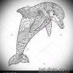 эскиз тату дельфин №343 - классный вариант рисунка, который легко можно использовать для доработки и нанесения как татуировка дельфин на запястье
