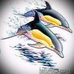 эскиз тату дельфин №472 - достойный вариант рисунка, который удачно можно использовать для преобразования и нанесения как татуировка дельфин значение на руке