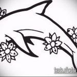 эскиз тату дельфин №64 - уникальный вариант рисунка, который хорошо можно использовать для переработки и нанесения как татуировка дельфин кельтский