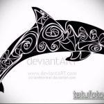 эскиз тату дельфин №255 - эксклюзивный вариант рисунка, который легко можно использовать для преобразования и нанесения как татуировка дельфин на шее