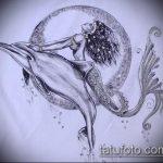 эскиз тату дельфин №824 - уникальный вариант рисунка, который успешно можно использовать для доработки и нанесения как татуировка дельфин кельтский