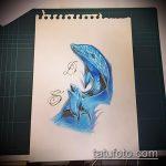 эскиз тату дельфин №117 - достойный вариант рисунка, который удачно можно использовать для доработки и нанесения как татуировка дельфин и солнце