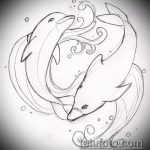 эскиз тату дельфин №388 - классный вариант рисунка, который удачно можно использовать для преобразования и нанесения как татуировка дельфин рука