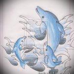 эскиз тату дельфин №704 - эксклюзивный вариант рисунка, который удачно можно использовать для переработки и нанесения как татуировка дельфин на шее