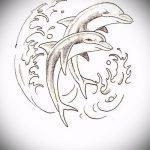 эскиз тату дельфин №64 - крутой вариант рисунка, который удачно можно использовать для переделки и нанесения как дельфин татуировка на ноге