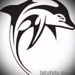 эскиз тату дельфин №521 - интересный вариант рисунка, который успешно можно использовать для переделки и нанесения как татуировка дельфин полинезия