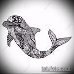 эскиз тату дельфин №273 - крутой вариант рисунка, который успешно можно использовать для переработки и нанесения как татуировка дельфин и солнце