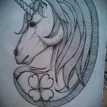 эскиз тату единорог №270 - эксклюзивный вариант рисунка, который легко можно использовать для переделки и нанесения как татуировка единорог с крыльями