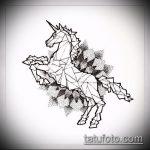 эскиз тату единорог №812 - классный вариант рисунка, который легко можно использовать для переработки и нанесения как татуировка единорог цветная