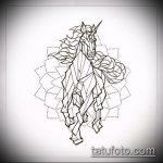 эскиз тату единорог №799 - классный вариант рисунка, который успешно можно использовать для преобразования и нанесения как татуировка единорог на спине