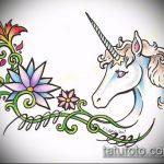 эскиз тату единорог №202 - интересный вариант рисунка, который удачно можно использовать для преобразования и нанесения как татуировка единорог на ноге