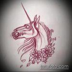 эскиз тату единорог №575 - классный вариант рисунка, который удачно можно использовать для переработки и нанесения как татуировка единорог на бедре