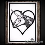 эскиз тату единорог №212 - достойный вариант рисунка, который удачно можно использовать для переработки и нанесения как татуировка единорог цветная