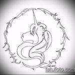 эскиз тату единорог №588 - достойный вариант рисунка, который успешно можно использовать для преобразования и нанесения как татуировка единорог прикол