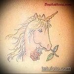 эскиз тату единорог №173 - прикольный вариант рисунка, который успешно можно использовать для переделки и нанесения как татуировка единорог цветная